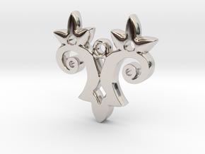 Twin Flower Pendant in Rhodium Plated Brass