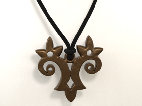 Twin Flower Pendant in Polished Bronze Steel