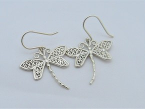 Dragonfly Earrings or pendant in Fine Detail Polished Silver