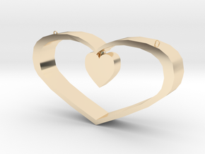Heart Pendant - Large in 14k Gold Plated Brass