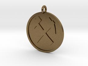 Hammer & Pick Pendant in Natural Bronze