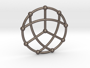 Petersen Graph Pendant, Variation 1 in Polished Bronzed Silver Steel