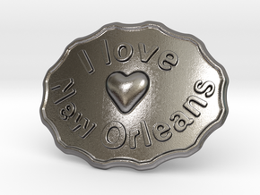 I Love New Orleans Belt Buckle in Polished Nickel Steel