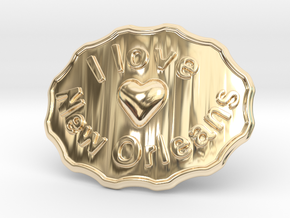 I Love New Orleans Belt Buckle in 14k Gold Plated Brass