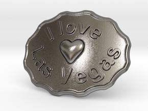 I Love Las Vegas Belt Buckle in Polished Nickel Steel