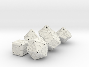 Vertex Dice RPG Set and Singles in White Natural Versatile Plastic: Polyhedral Set