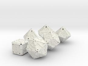 Vertex Dice RPG Set and Singles in White Natural Versatile Plastic: Polyhedral Set
