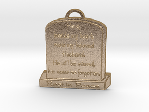 Memorial Pendant in Polished Gold Steel: Large