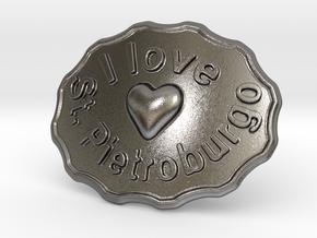 I Love St. Pietroburgo Belt Buckle in Polished Nickel Steel