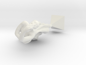 Miniature Ballet Dancer in White Natural Versatile Plastic