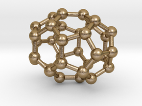 0012 Fullerene c32-3 d3d in Polished Gold Steel