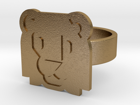 Lion Ring in Polished Gold Steel: 10 / 61.5