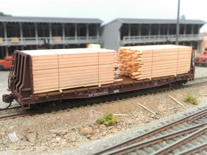 N Lumber Load For 5 Flat Cars: WOT, MTL, Athearn in Smooth Fine Detail Plastic