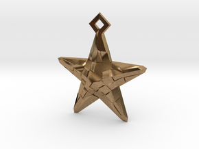 Stylised Sea Star Earring in Natural Brass