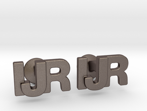 Monogram Cufflinks IJR in Polished Bronzed Silver Steel