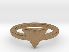 Small Triangle Midi Ring in Natural Brass