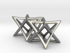 Star of David Earrings in Natural Silver: Small