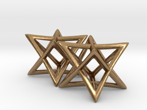 Star of David Earrings in Natural Brass: Small