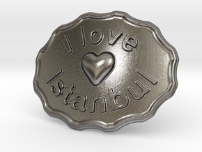 I Love Istanbul Belt Buckle in Polished Nickel Steel