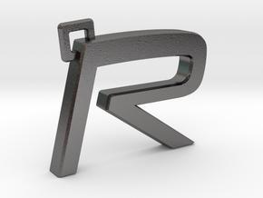 Volvo R Logo Keychain in Polished Nickel Steel