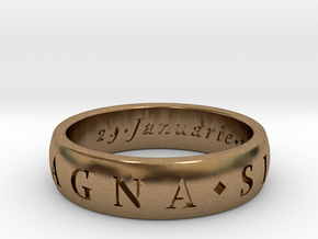 Size 10.5 Sir Francis Drake, Sic Parvis Magna Ring in Natural Brass