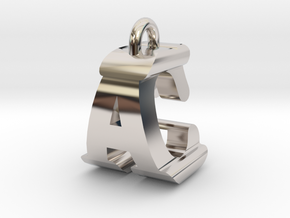 3D-Initial-AC in Rhodium Plated Brass