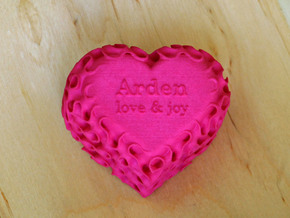 Gyroid Heart Box - Custom Lid in Pink Strong & Flexible Polished