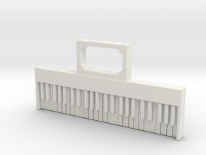 Keyboard pendant/keyfob in White Natural Versatile Plastic