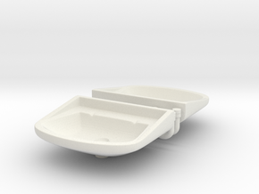 1/25 Sinks x2, with faucets+drainpipe in White Natural Versatile Plastic