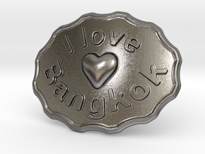 I Love Bangkok Belt Buckle in Polished Nickel Steel
