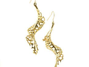 Spiral Earrings - 1 pair in Polished Brass