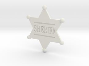 Sheriff badge in White Natural Versatile Plastic