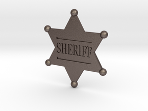 Sheriff badge in Polished Bronzed Silver Steel