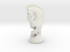 Chess Knight in White Natural Versatile Plastic: Medium