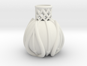 Lobed Bottle Vase in White Strong & Flexible