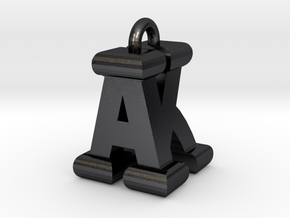 3D-Initial-AK in Polished and Bronzed Black Steel