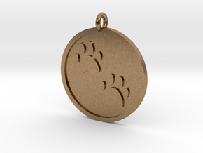 Paw Prints Pendant in Natural Brass