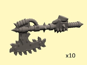 28mm Chain axe with evil hand (left) in Smoothest Fine Detail Plastic