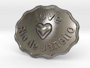 I Love Rio De Janeiro Belt Buckle in Polished Nickel Steel