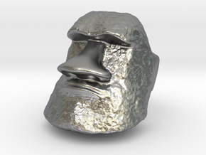 Serious Moai Ring in Natural Silver