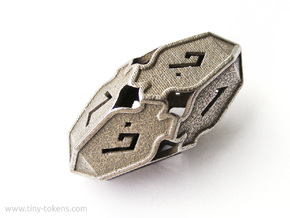 Amonkhet D10 gaming die - Large, hollow in Polished Bronzed Silver Steel