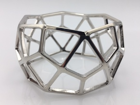 Catalan Bracelet - Deltoidal Hexecontahedron in Rhodium Plated Brass: Medium