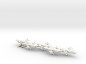 Hawker Hart planes set 2 (5 airplanes) 1/285 6mm in White Natural Versatile Plastic