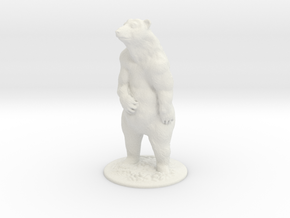 O Scale Grizzly Bear in White Natural Versatile Plastic