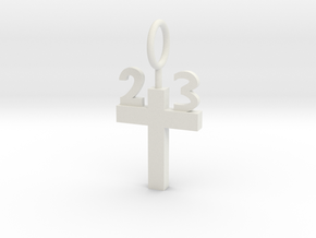 Custom 23 Cross Pendant in White Natural Versatile Plastic