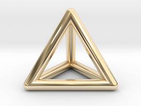 Tetrahedron Platonic Solid Triangular Pyramid Pend in 14k Gold Plated Brass