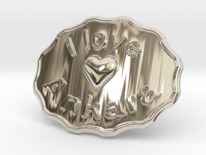 I Love Ankara Belt Buckle in Rhodium Plated Brass
