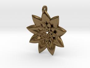 Fractal Flower Pendant V in Natural Bronze