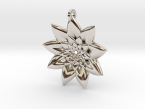 Fractal Flower Pendant V in Platinum