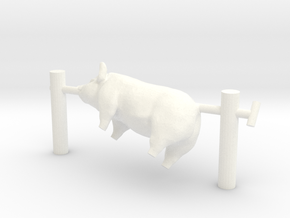 S Scale Pig On A Spit in White Processed Versatile Plastic